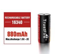 TrustFire-batería de litio 16340, Pila de iones de litio recargable, 3,7 V, 880Mah, CR123A, con pezón superior para linterna y Luz