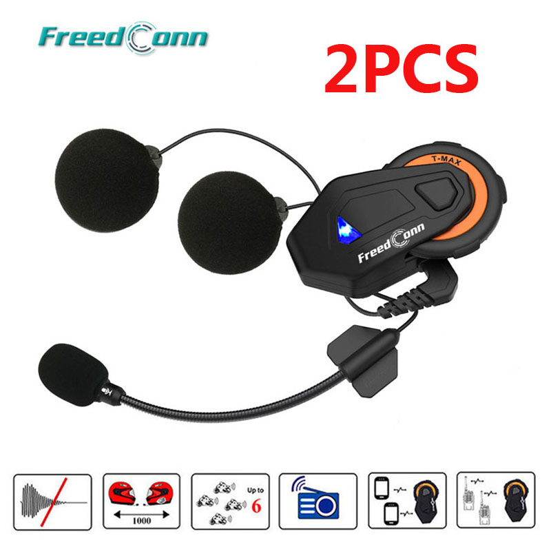 2PCS Freedconn T-max Motorcycle 6 Riders Group Talking FM Radio Bluetooth 4.1 Helmet intercom Bluetooth Headset