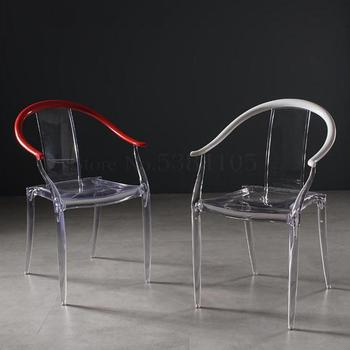Transparent Dining Chair Plastic Crystal Chair Acrylic Stool Nordic Net Red Ins Creative Fashion Backrest Taishi Chair