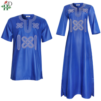 H&D South Africa Couple Clothes African Dresses For Men And Women Dashiki Embroidery Clothing Short Sleeve T-shirt Ankara Dress 2