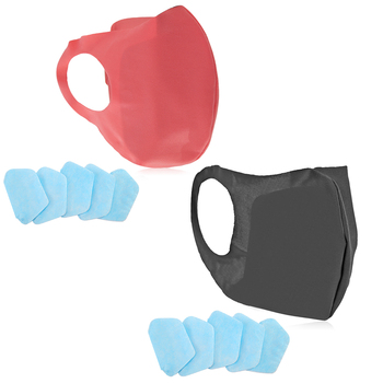 1pc Dustproof Anti-Pollution Mouth Mask Adult Nose Cover Personal Protection Equipments with 5pcs 3 Layers Replacement Pad PPE