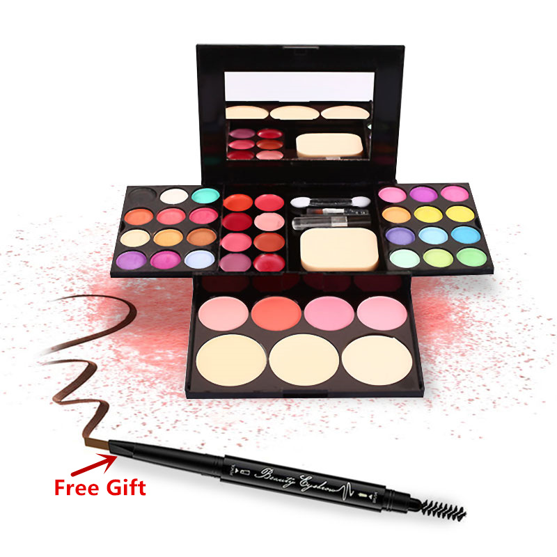 Makeup Set 24 Colors Eyeshadow+8 colors Lipstick+4 Colors Blush+3 Colors Foundation Base With Brushes Eyebrow Pencil Free Gift