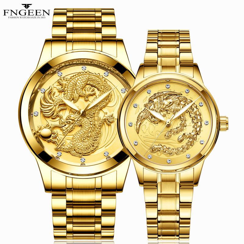 2019 Couple Watches For Lovers Ladies Watch Top Luxury Brand Quartz Gold Watches Men Waterproof Stainless Steel Luminous Watch
