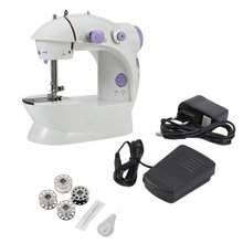 portable multifunction desktop mini electric sewing machine with light cutter small household appliances eat thick needle feed 2020 New 1pc Home Use Multifunction Electric Mini Sewing Machine Household Desktop With LED New Popular Mini Sewing Machine