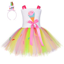 Halloween Ice Cream Birthday Costume With Hat Kids Sweet Candy Pageant Back To School Tutu Dress Girls Autumn Winter Clothes Set