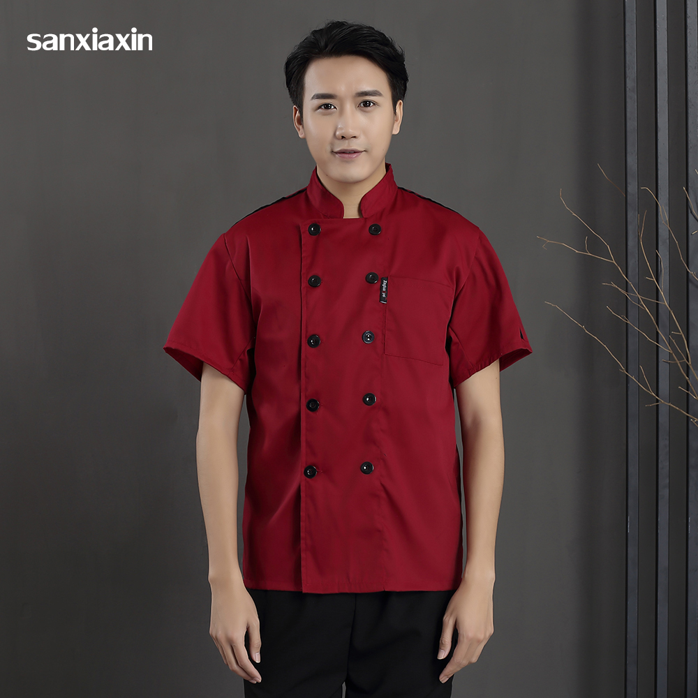 Casual Soft Kitchen Jacket Chef Uniform Catering Work Clothes Men Short Sleeved Chef Coats Coffee Shop Waitress Waiter Uniform