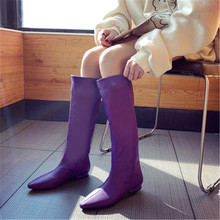 Hot Sale Autumn Knee High Boots Women Fashion Candy Colors Square Heel Woman PU Leather Shoes Winter Pointed Toe Long Boots gray yeerfa hot sale new fashion soft pu leather high heels knee high boots buckle boats women motorcycle boots autumn winter shoes