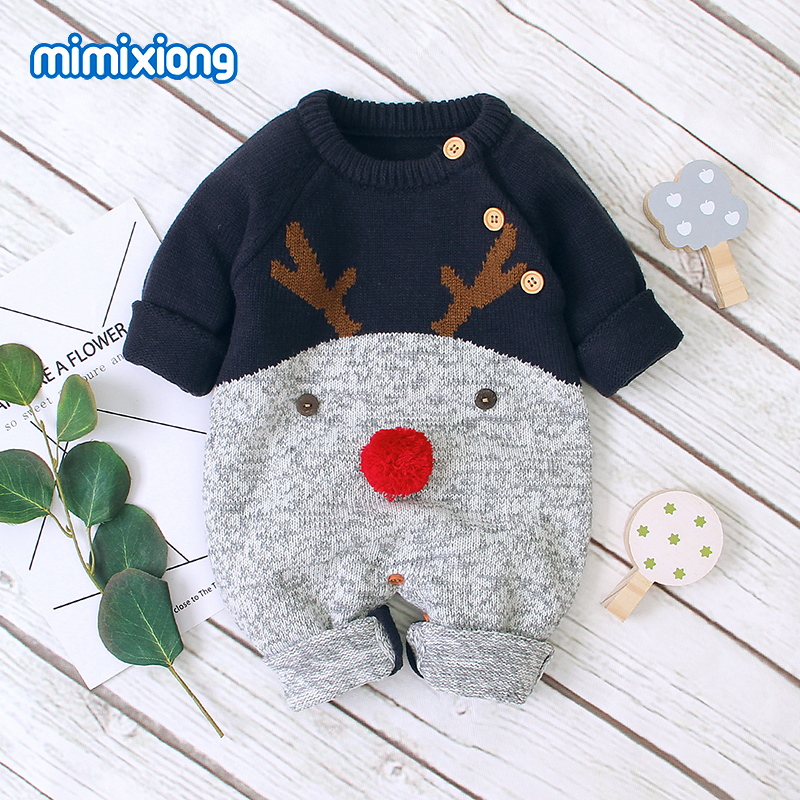 Baby   Rompers   Long Sleeve Newborn Boys Girls Jumpsuit Winter Christmas Knitted Toddler Infant Overalls One Piece Children Clothes