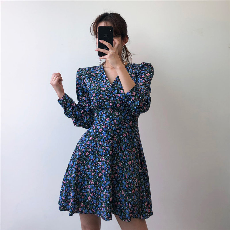 Alien Kitty Slender Women Florals A-Line Plus Size 2020 Chic Sexy Feminine V-Neck Vintage Elegant Sweet High Street Mini Dresses(China)