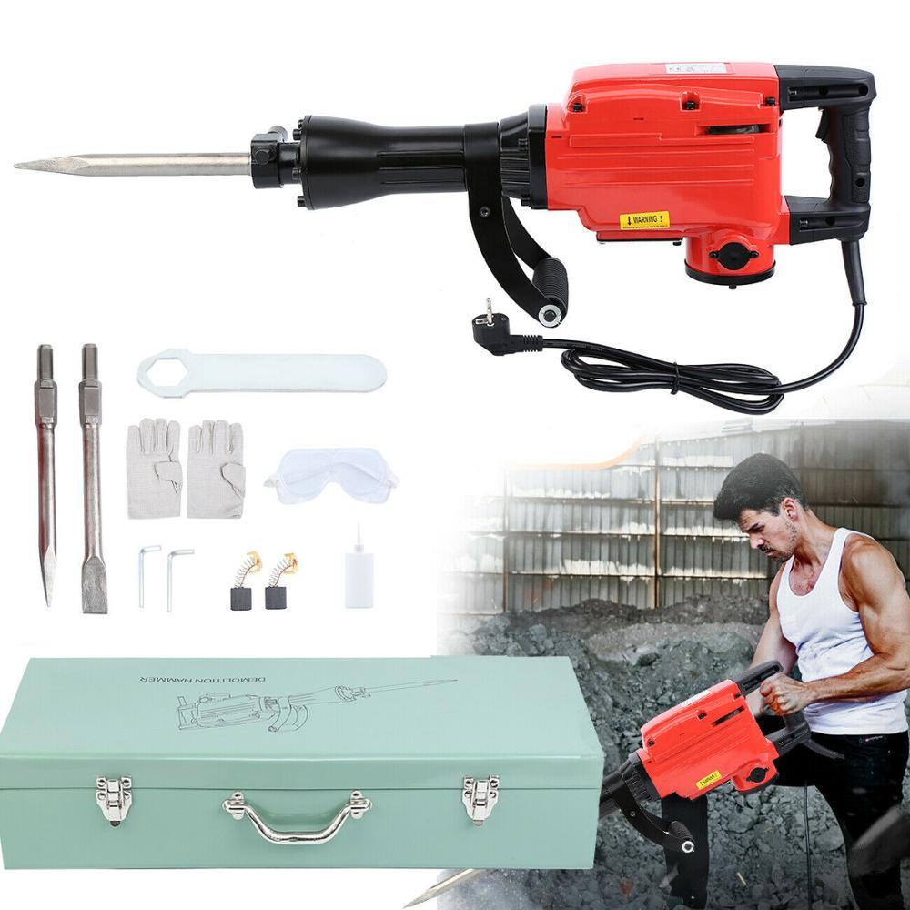 Ridgeyard 1050W/1850W/2400W Electric Hammer Drill Demolition Rotary Jack Hammer With Chisel For Wood Metal Tool Concrete Drill