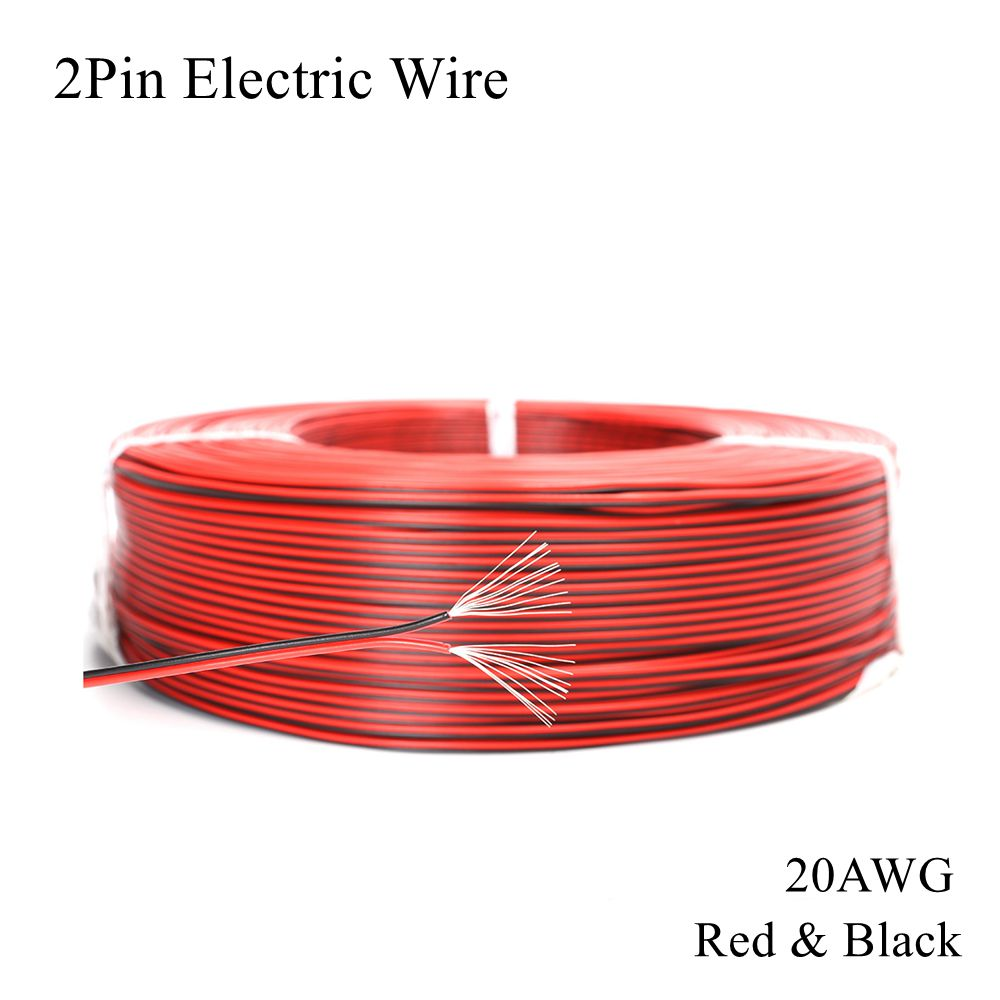 <font><b>20AWG</b></font> <font><b>2Pin</b></font> Electric Wire Red Black Tinned Copper Cable PVC Electrica Extend Connect DIY Line Lamp Lighting LED Strip Tape String image