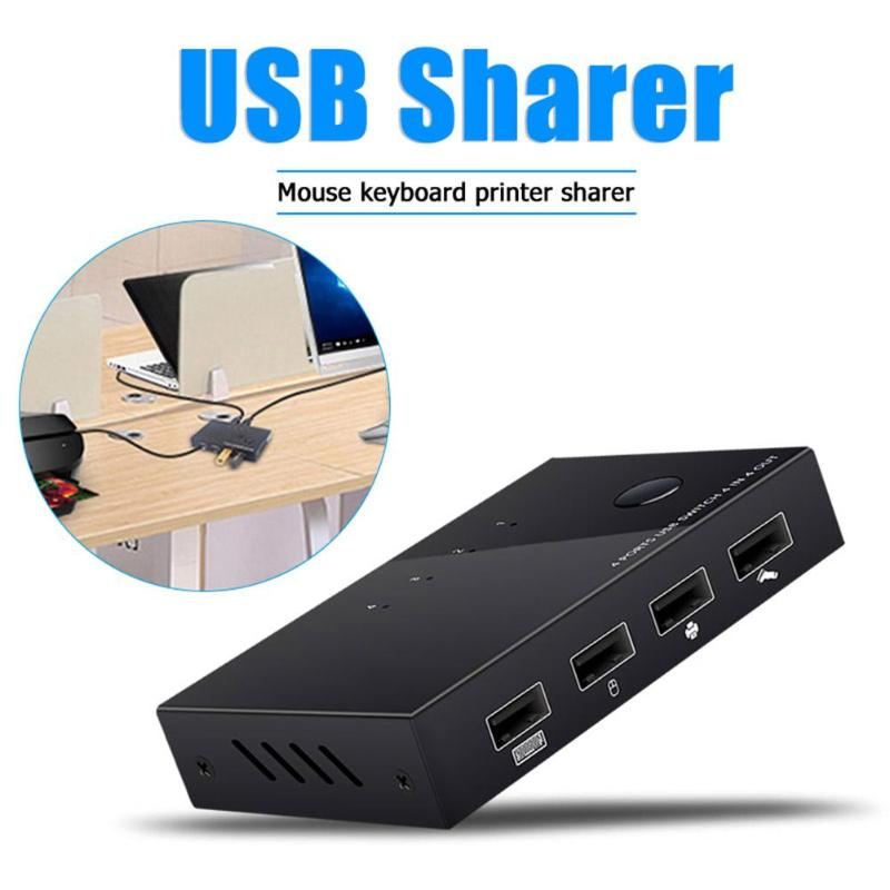 USB KVM Switch Box 4 Port USB 2.0 PC Sharing Switcher Plug And Play For Keyboard Mouse Printer  Hard Disk Card Reader