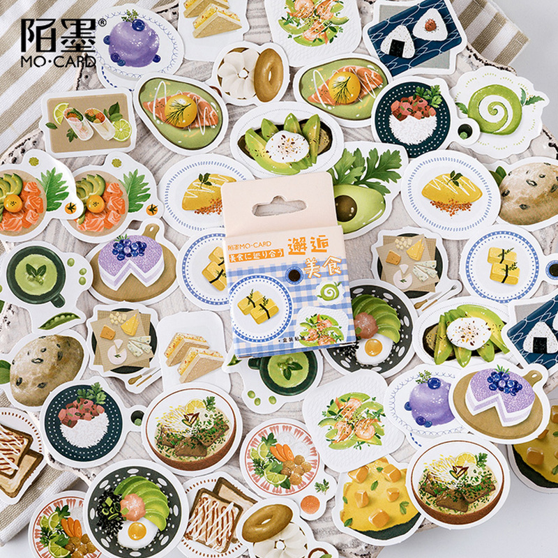 46 Pcs/Box Momo Meet The Delicious Food Mini Decoration Paper Sticker Decoration DIY Album Diary Scrapbooking Label Sticker
