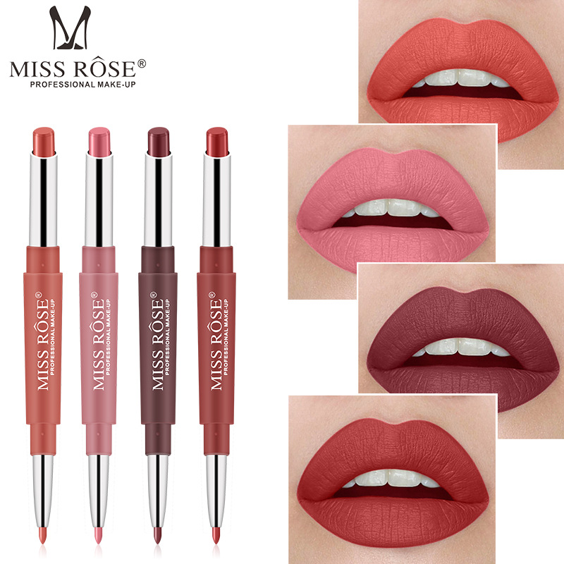 <font><b>Miss</b></font> <font><b>Rose</b></font> Brand 2 In 1 <font><b>Matte</b></font> <font><b>Lipstick</b></font> Lipliner Makeup <font><b>Set</b></font> Lip Stick Waterproof Nude Lip Liner Soft Long-wearing Beauty Cosmetics image