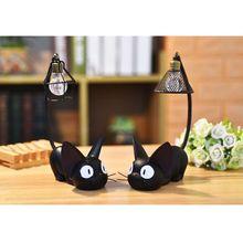 Милый маленький черный полимерный ночсветильник в виде кошки, настольные фигурки, миниатюры, детские подарки, украшение для дома и подарок
