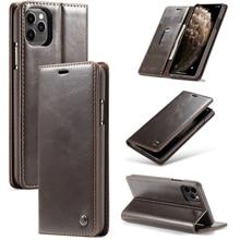Business Case di lusso Per iphone 11 In Pelle Vintage Copertura Della Cassa Del Raccoglitore Per Il iphone XS Max XR X XS 6 7 8 più di Caso di Vibrazione Magnetica
