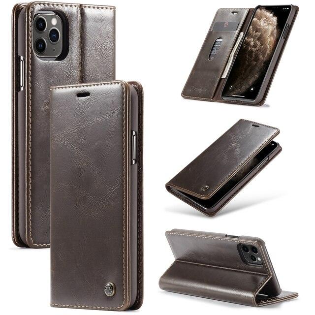 Doanh Nhân Sang Trọng Dành Cho iPhone 11 Vintage Bao Da Ví Da Cho iPhone XS Max XR X XS 6 7 8 plus Lật Từ Ốp Lưng