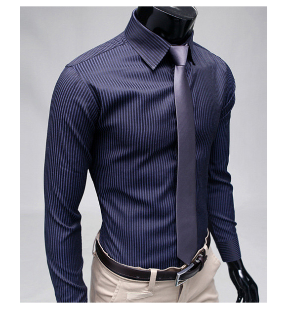 2020 Gentleman Stripe Long Sleeve Shirt Leisure Men's Casual Slim Long-sleeved Shirt Top Blouse Business Men Brand Clothing 3