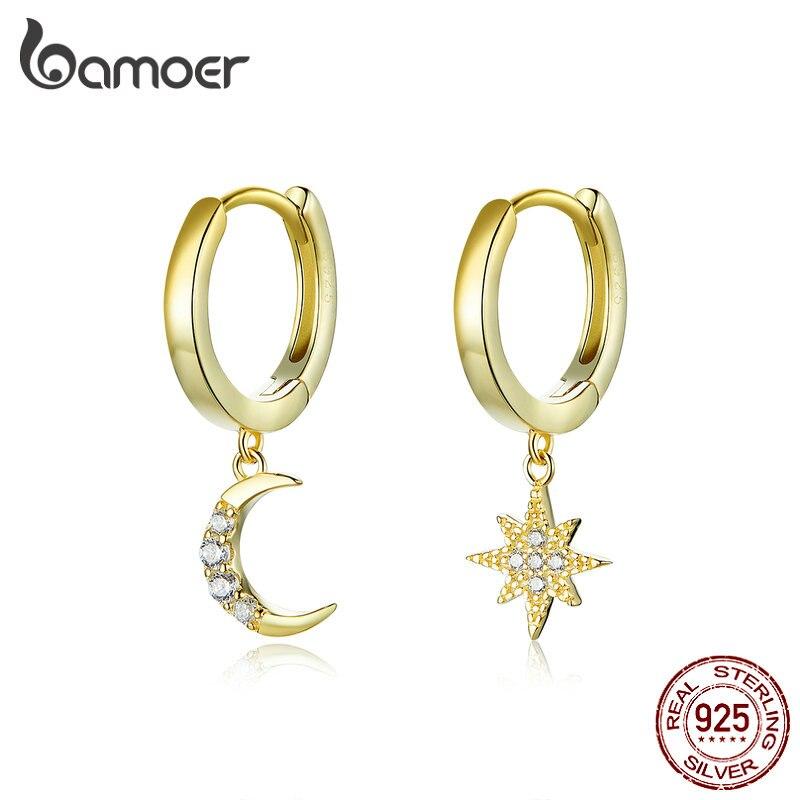 bamoer GXE785 925 Sterling Silver Exquisite Guardian Star Hoop Earrings Women Festival Gift Fine Jewelry Hypoallergenic Jewelry
