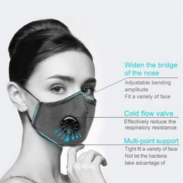 5pcs/lot PM2.5 Mouth Mask Anti-dust Mask Reusable Mask with Breathing Valve Washable Mouth Face Masks Carbon Filter Pad In Stock 5