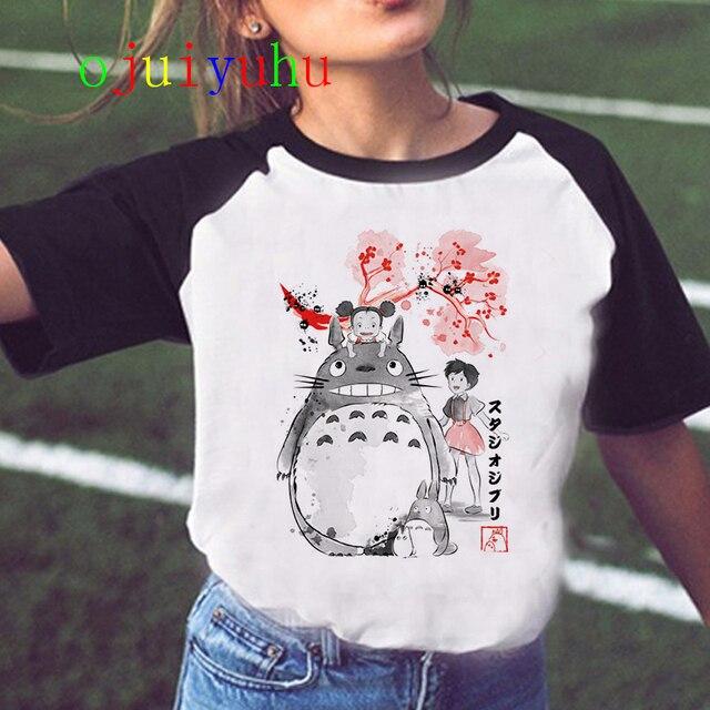 Totoro Studio Ghibli Harajuku Kawaii T Shirt Women Ullzang Miyazaki Hayao Tshirt Funny Cartoon T-shirt Cute Spirited Away Female 1