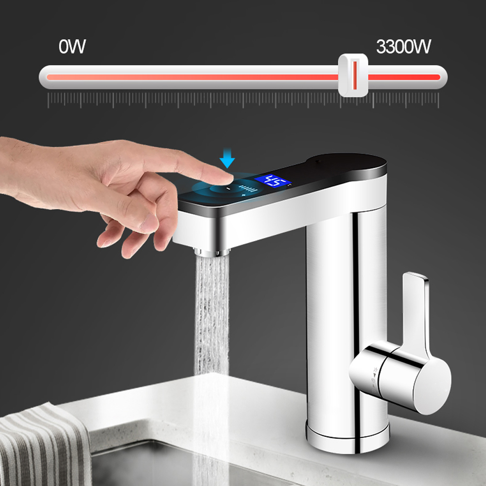 3300W Instant Electric Faucet Adjustable Temperature Water Heater  Touch Switch  Kitchen Hot Water Heating Tap LCD Display 220V