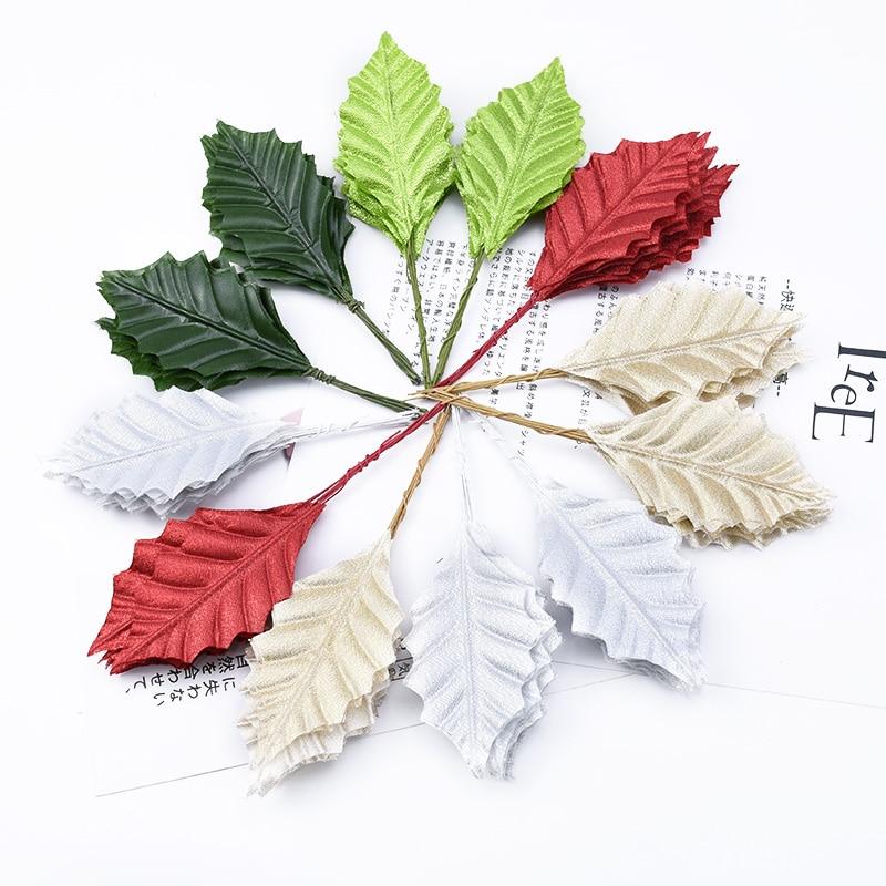 10 Pieces Golden Christmas Decoration Rose Leaves Wedding Decorative Flowers Wreaths Vase For Home Decor Cheap Artificial Plants