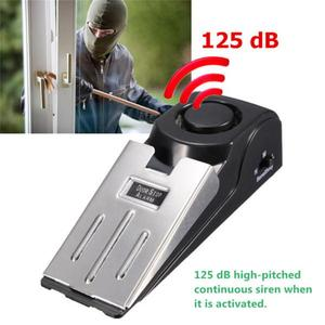 125DB Wireless Door Stop Alarm Stainless Steel 3 Sensitivity Level Sensor Wedge-shaped Portable Home Travel Security