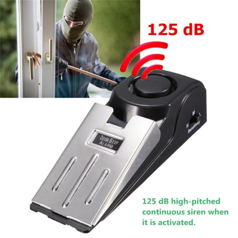 125db sem fio alarme de parada de porta de aço inoxidável 3 sensor de nível de sensibilidade em forma de cunha portátil segurança de viagem em casa