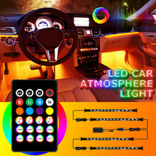 Led Car Foot Ambient Light with USB Remote APP Music Control RGB Auto Interior Decorative Atmosphere Lights