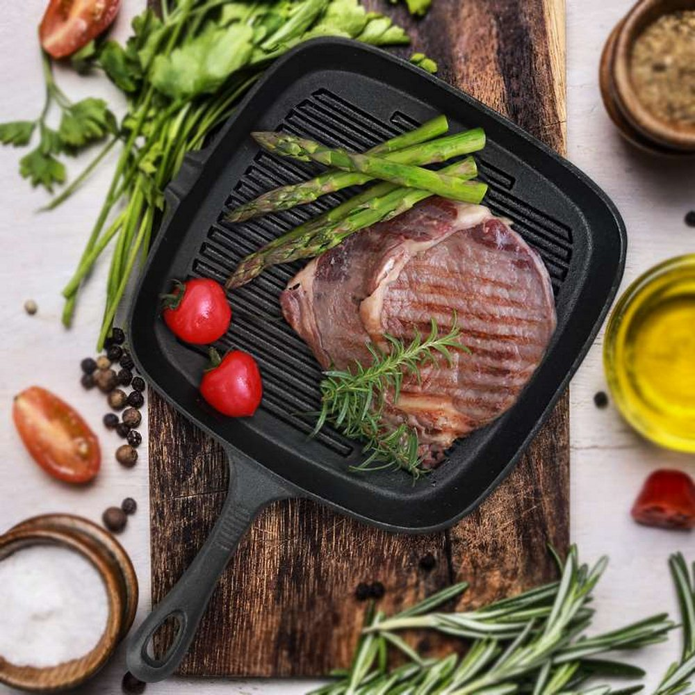 Non-sticky Cast Iron Steak Frying Pan For Eggs Ham Wooden Handle Folding Portable Square Grill Pan Non-stick Steak Frying Pan