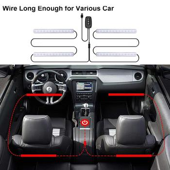 2020 New Arrival 4PCS 48 LED Car Interior Atmosphere Lamp Neon Light With Music Control & APP & Key Control 2 in 1 string lights image