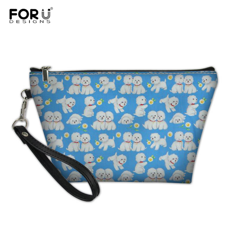 FORUDESIGNS Floral Bichon Frise Dog Cosmetic Bag For Women Neceser Travel Organizer Female Storage Make Up Cases Multifunction
