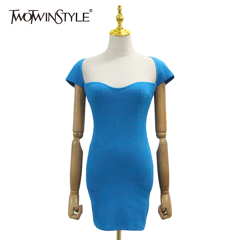TWOTWINSTYLE Elegant Slim Summer Dress Women Square Collar Short Sleeve High Waist Tunic Knitting Mini Dresses For Female Tide
