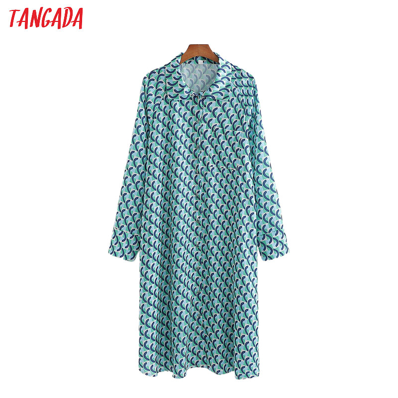 Tangada Women Retro Print Oversized Long Shirt Long Sleeve Chic Female Casual Loose Shirt Blusas Femininas 1D192