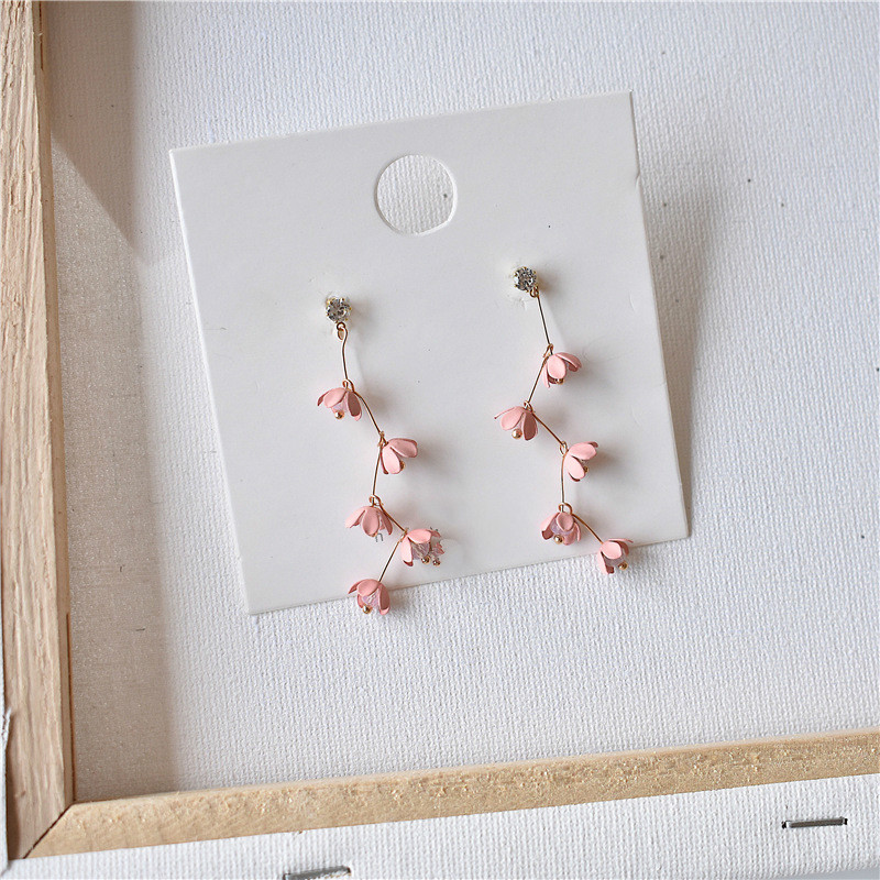 Bohemian Long Tassel Pink Flowers Rhinestone Earrings Beautiful Jewelry Dangle Earrings for women