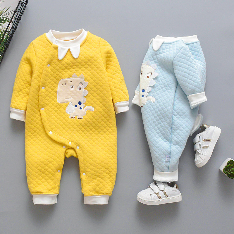 2019 New Born Baby Cartoon   Rompers   Autumn Winter Warm Cotton Jumpsuit Cartoon Long Sleeve Dinosaur Clothes Boys Girls Pajamas