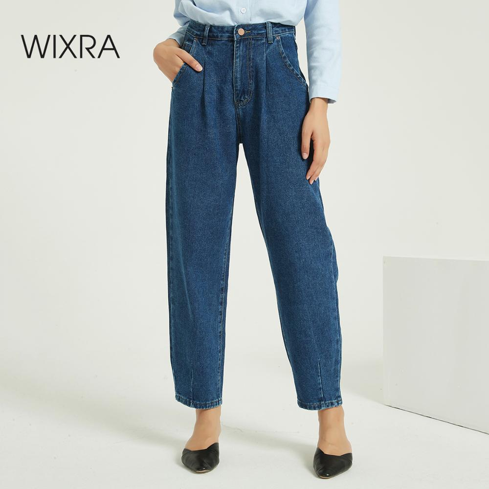 Wixra Women Harem Denim Jeans Pants Ladies Casual Bottoms Female Trousers Autumn Winter High Waist Trousers