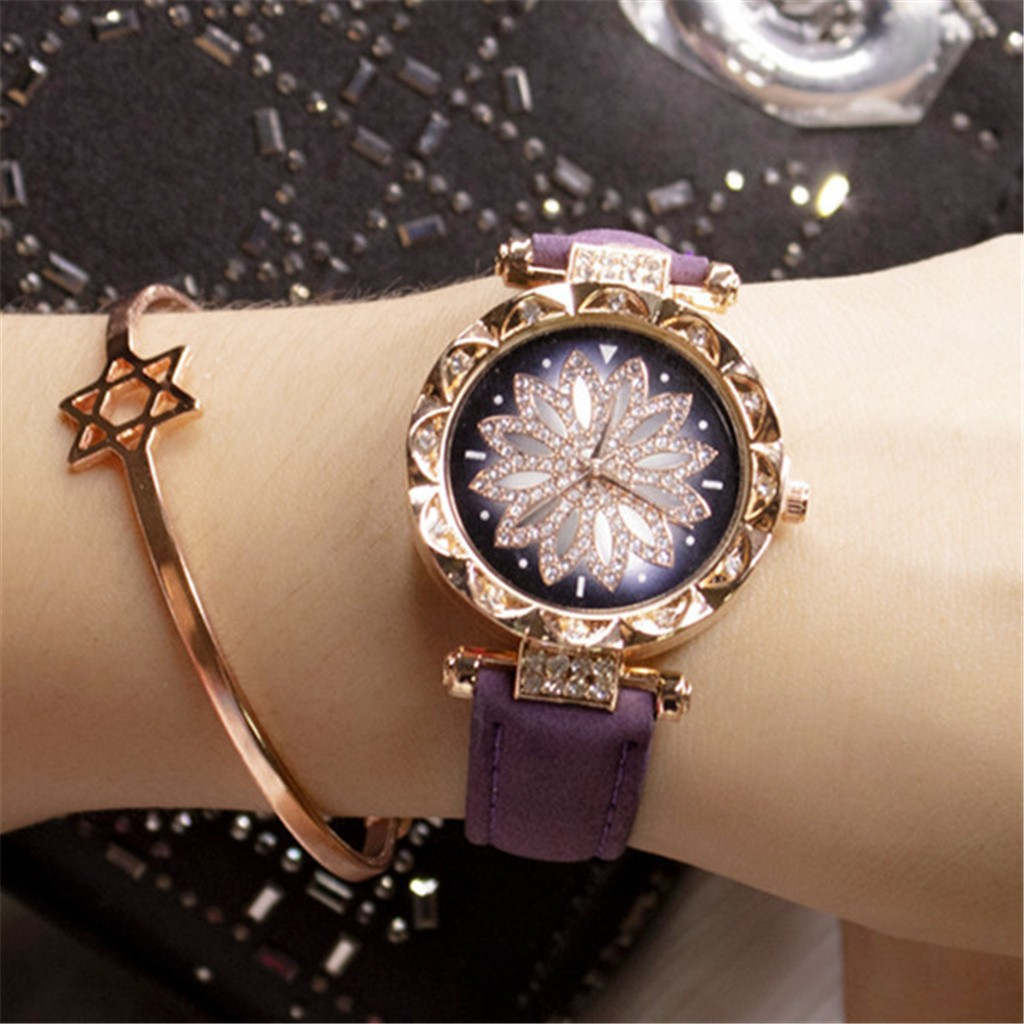 DUOBLA Luxury Women Watches Fashion Quartz Wristwatches Watch Women Leather Strap Brand Ladies Starry Sky Watch Gold Silver