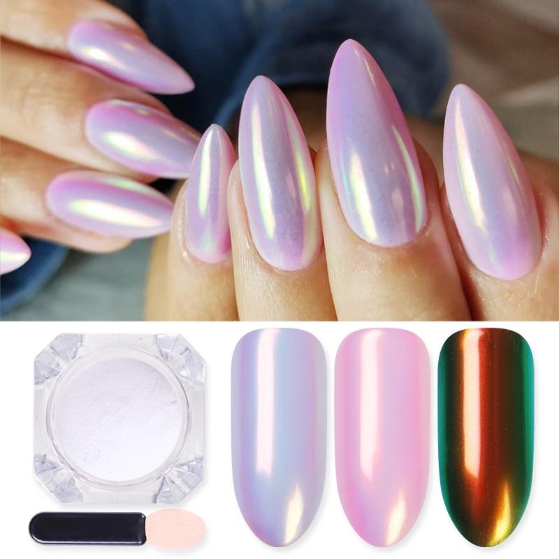 1 Box Mirror Glitter lakier do paznokci chromowany proszek pigmentowy DIY Salon proszek Neon zdobienie paznokci dekoracje dekoracje|Brokat do paznokci|   - AliExpress
