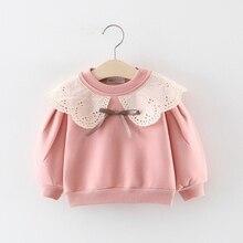 Модные осенние детские свитера с длинными рукавами и кружевным воротником для маленьких девочек верхняя одежда S9312
