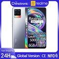 Глобальная версия realme 8 128 Гб мобильный телефон 64-мегапиксельная четырехъядерная камера 5000 мА/ч, 30 Вт Быстрый Зарядное устройство 6,4