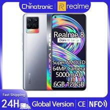 Versão global realme 8 128gb celular 64mp quad câmera 5000mah 30w carregador rápido 6.4 super super amoled helio g95 ota nfc