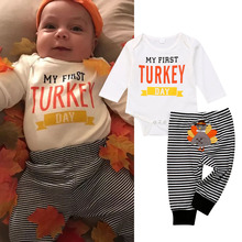 Thanksgiving Newborn Kids Baby Boy Girl Clothes set MY First Turkey day Letter Long Sleeve Boysuit Stripe Pants Outfits Set 0-2T