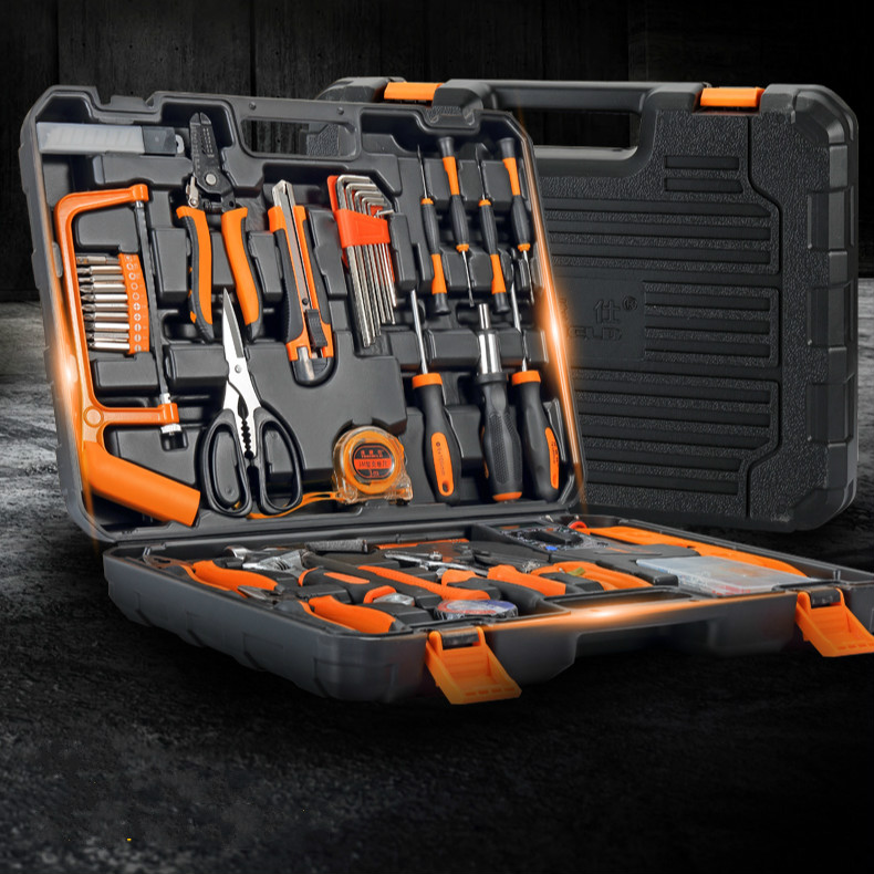 106pcs Garage And Home Tool Kit With Claw Hammer Wrench Pliers Screw Bits Tool Set In Box For Home Office Yard Garden