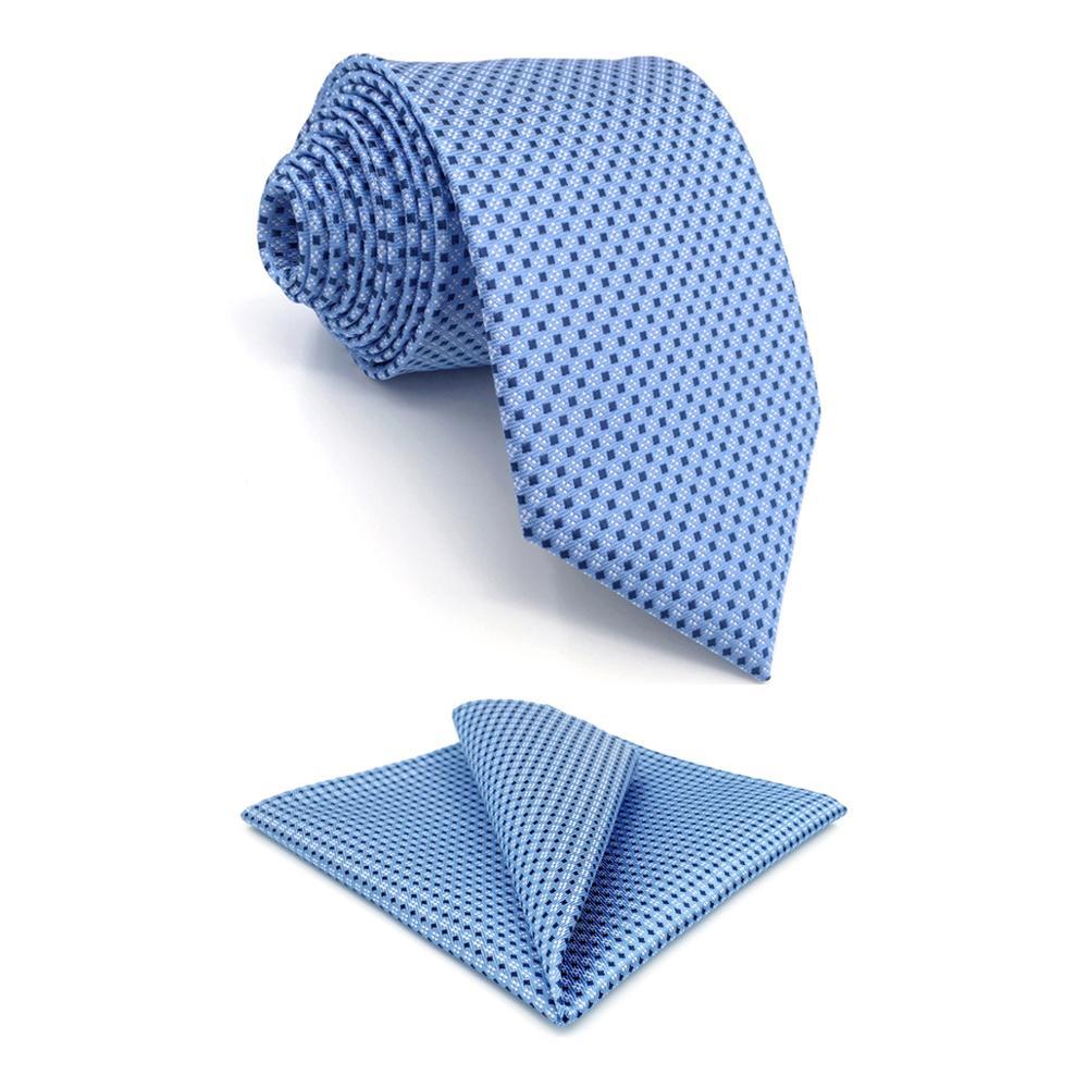 B6 Azure Polka Dots Silk Men's Necktie Set Wedding Classic Ties For Male Brand New Dress Hanky Extra Long Size