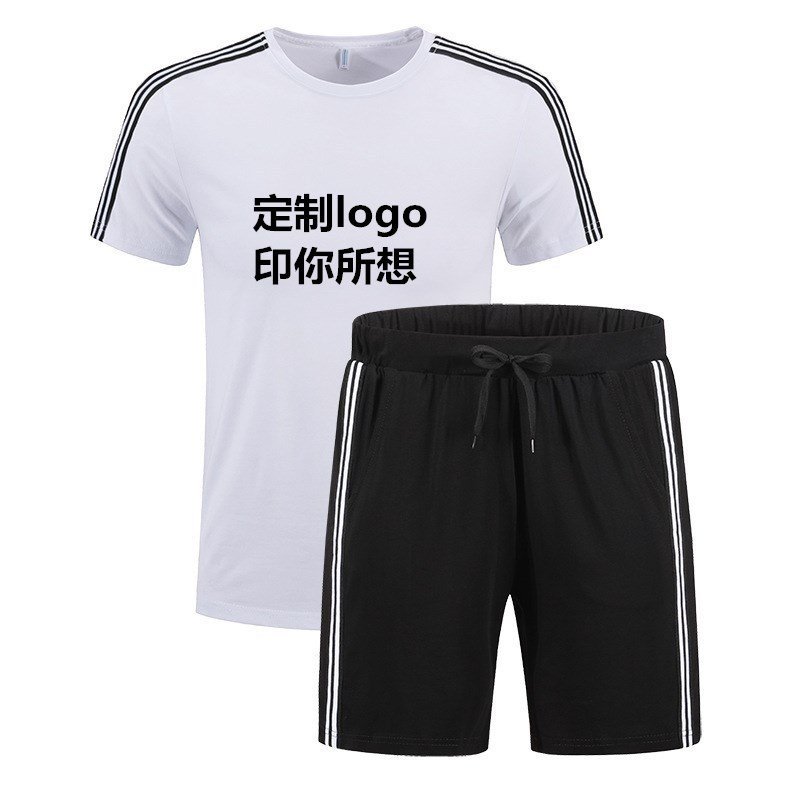 Customizable Team Clothing Sports Set Men's Summer Casual Running Sports Clothing Crew Neck Short-sleeved Top Shorts Men's