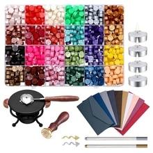 24 Colors Wax Seal Beads Set with Spoon Sealing Stamp Furnace DIY Scrapbooking Wedding Decorative Invitation Sealing
