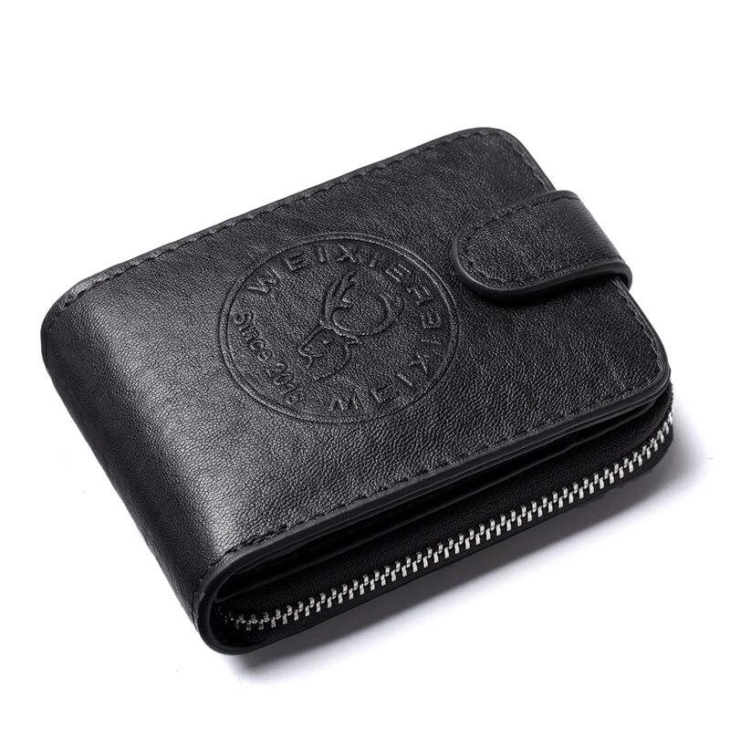 Многофункциональный мужской деловой бумажник для карт, противоугонная щетка, держатель для банковских карт, тонкий чехол для кредитных карт, карман для наличных денег - Цвет: Black
