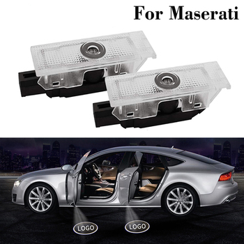 2 Pcs For Maserati Quattroporte GranTurismo Ghibli GranCabrio Levante Led Car Door Ghost Light Logo Laser Projector Welcome Lamp image